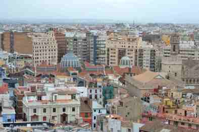Valencia from atop a bell tower in Plaza de la Reina.